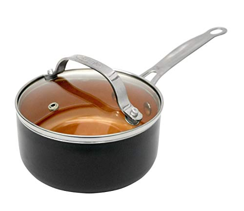 Gotham Steel Nonstick 2-Quart Sauce Pan with Tempered Glass Cover/Lid - Dishwasher Safe