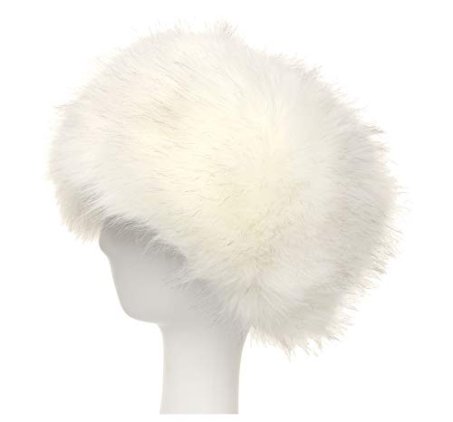 La Carrie Women's Faux Fur Hat for Winter with Stretch Cossack Russion Style White Warm Cap(White)]()