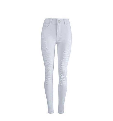 003 Pantalon de Jogging Blanc Taille Haute en Jean dchir White