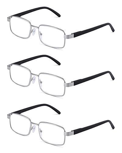 (JM Metal Frame Spring Hinge Reading Glasses 3 Pairs Vintage Metal Readers Men +1.5 Silver)