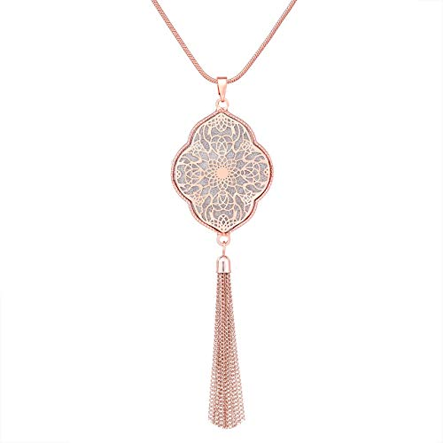 ALEXY 2Pcs Long Chain Pendant Necklace Set, Filigree Quatrefoil and Celtic Knot Pendant Tassel Y Necklaces for Women (G 1PC Rose Gold)