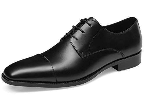 GIFENNSE Men's Leather Oxford Dress Shoes Formal Lace Up Modern Shoes(12US/Dark Brown