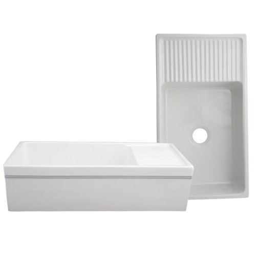 (Whitehaus WHQD540-WHITE Farmhaus Quatro Alcove 36-Inch Reversible Fireclay Sink with Apron, White)