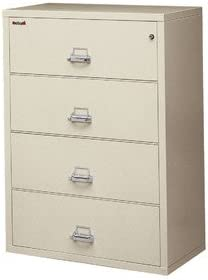 Pewter Fireproof 4-Drawer Card Lock Check and Note Vertical File Finish Combination Lock