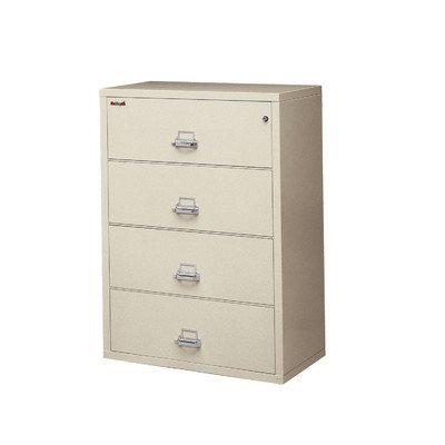 (Fireproof 4-Drawer Vertical File Finish: Parchment, Lock: Combination Lock)