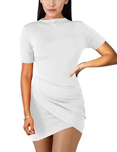 BORIFLORS Women's Sexy Wrap Front Long Sleeve Ruched Bodycon Mini Club Dress,Medium,White