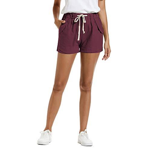 NEWFANGLE Women's Cotton Linen Causal Shorts Comfy Beach Short Drawstring Elastic Waist Shorts,WineRed,XL