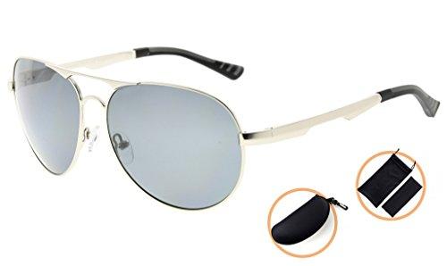 ... Eyekepper Lunettes de soleil Metal monture verres en Polycarbonate  verres Polarisees lunettes soleil style aviateur argentee ... c7ef6864e03