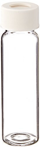 JG Finneran 9-103-3 Clear Borosilicate Glass Precleaned and Certified VOA Vial with White Polypropylene Open Top Closure and 0.125
