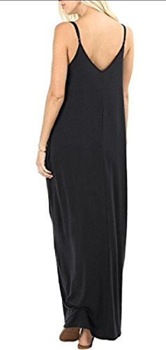 Maxi Black with Spaghetti Maweisong Cami Straps Swing Beach Pockets Plain Women's Dress wqP0wxC1
