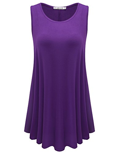 JollieLovin Womens Sleeveless Comfy Plus Size Tunic Tank Top with Flare Hem - Deep Purple, XL (1X)