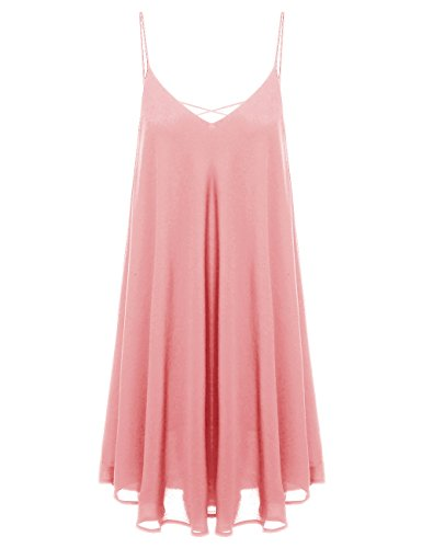 ROMWE Women's Summer Spaghetti Strap Sundress Sleeveless Beach Slip Dress Pink M (Pink Sundress Dress)
