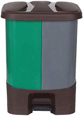 Lszdp-Oficina Papelera Cubos de Basura Cubo de Basura de plástico Papelera Pedal con Dos Compartimentos en línea de contenedores for la Oficina jardín al Aire Libre, 20 litros (Color : Green): Amazon.es: