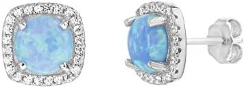 Sterling Silver Created Blue Opal Cubic Zirconia Square Halo Stud Post Earrings