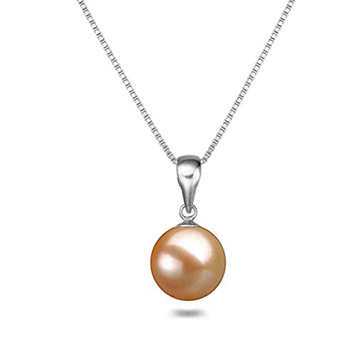 Japanese AAAA 8mm Pink Freshwater Cultured Pearl Pendant Necklace 18 Inch Solitaire Necklace Pendant