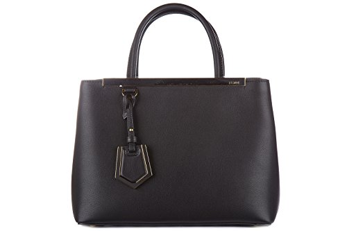 Fendi women's leather handbag shopping bag purse petite 2 jours black