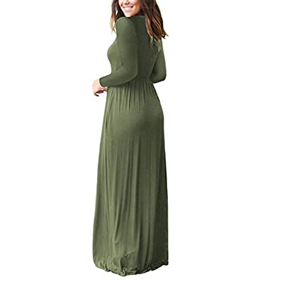 AUSELILY Women Long Sleeve Loose Plain Plus Size Maxi Dresses Casual Long Dresses with Pockets: Clothing