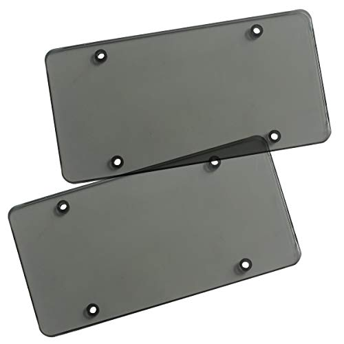 Zone Tech Clear Smoked Unbreakable License Plate Shields - 2-Pack Novelty/License Plate Clear Smoked Flat Thick Shields (License Plate Cover Tint)
