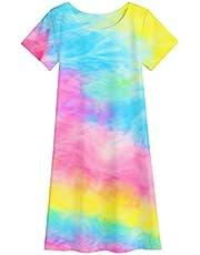 Jorssar Girls Tie Dye Coverups Beach Swim Cover Up Bathing Suit T-Shirt Dress Size 5-12 Years