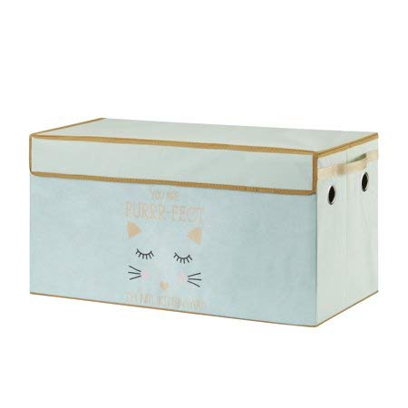 Make Cleanup of Toys Fun and Easy for Kids with Lightweight,Durable and Adorable Mainstays Kids Collapsible Soft Storage Toy Trunk,Purrty Cat