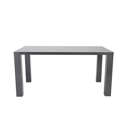 Eurø Style Abby Lightweight High-Gloss Lacquer Dining Table, Gray