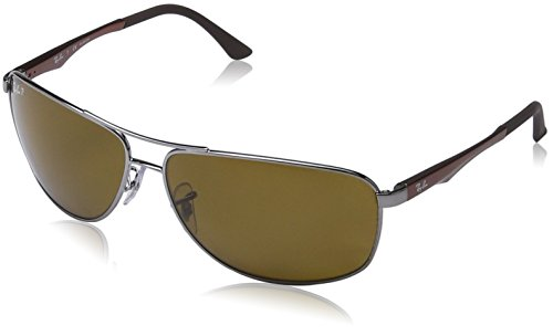 Ray-Ban Men's RB3506 Rectangular Metal Sunglasses, Gunmetal/Polarized Brown, 64 ()