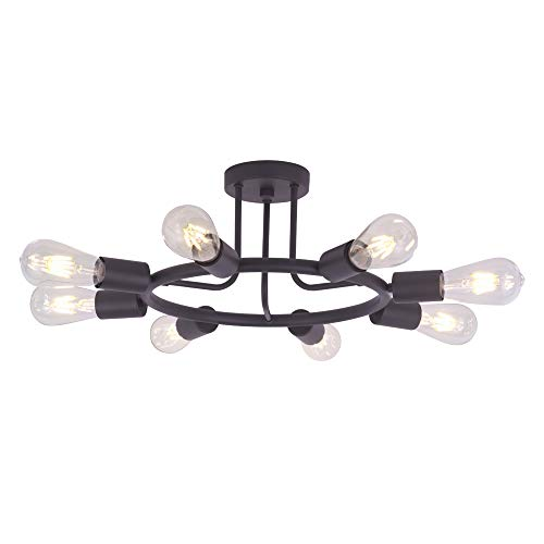 BONLICHT 8 Lights Semi Flush Mount Ceiling Light Modern Metal Chandelier Lighting Oil-Rubbed Bronze Industrial Vintage Light Fixtures for Kitchen Island Dining Room Foyer Bedroom ()