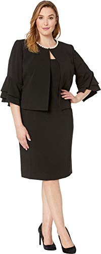 Tahari by ASL Women's Plus Size Crepe Jacket Dress with Pearl Trim Black 18 W ()