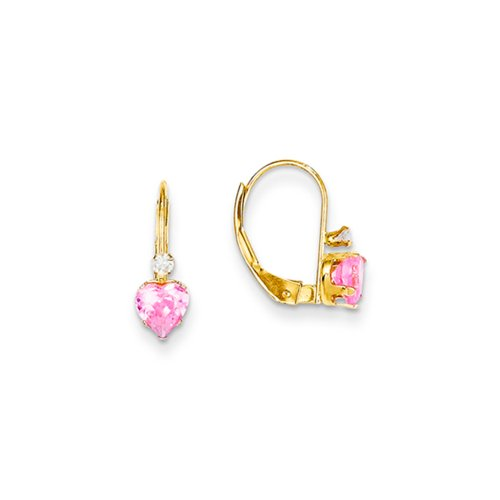 Pink Cubic Zirconia Heart Lever Back Earrings in 14k Yellow Gold by The Black Bow
