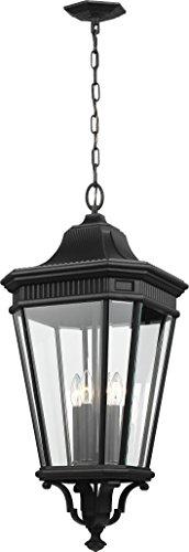 Feiss OL5414BK Cotswold Lane Outdoor Lighting Pendant Lantern, Black, 4-Light (14