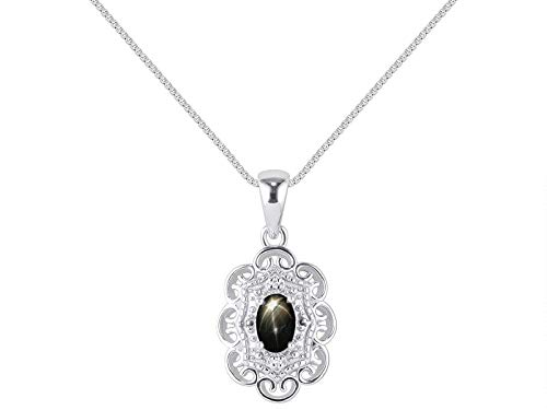 RYLOS Simply Elegant Beautiful Black Star Sapphire & Diamond Pendant Necklace - March Birthstone
