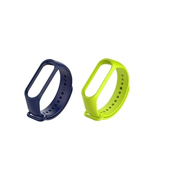 Liddu Wristband Band Straps for Xiaomi Original Mi 3 & Mi 4 Bands (Combo Pack, Pack of 2) (Navy Blue, Parrot Green
