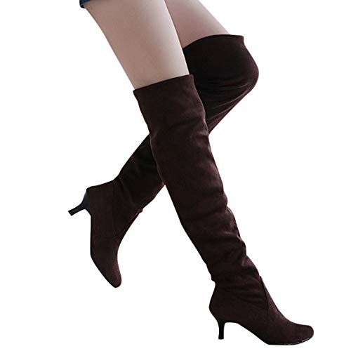 Todaies Womens Suede Over The Knee Shoes Block Middle Heels Thigh High Boots