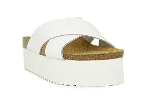 Sandalia Plataforma En Piel Blanco BLANCO
