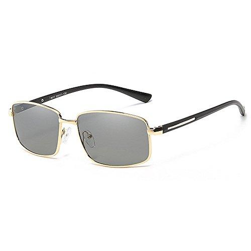 de Sol Hombres clásico Sol de Gafas Aviador conducción UV de de Frescos los Cuadrado Gafas GWF Metal Marco Gafas Sol Oro de polarizadas Color Protección de de Negro EgYPqxRw