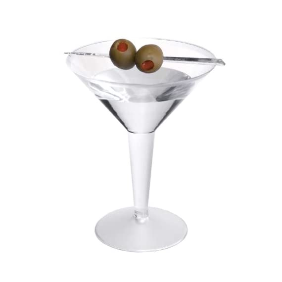 Party Essentials Hard Plastic 2-Piece Martini Glasses, 8-Ounce Capacity, For Martinis, Appetizers, Mash Potatoes, Veggies Dip Stations, Bar & More (Multi-color) 2 Disposable plastic martini glass for use with martinis, cocktails, and other cold beverages Two-piece design; stem is hollow to facilitate stacking, storing, and transporting the glasses prior to use Clear plastic for visibility of contents and to coordinate with most tableware or drinkware designs and most decorations