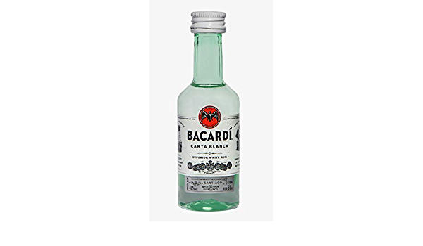 Bacardi Carta Blanca - Paquete de 10 botellines x 50 ml - Total ...