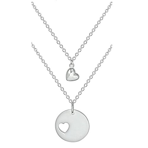 Penny & Piper Mother Daughter Necklaces 2: Sterling Silver Plated Heart Charm & Heart Cut Out ()