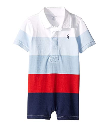 Ralph Lauren Baby Boys Shortalls Bodysuit Striped Smooth Cotton (12 Months, Multi) (Ralph Lauren Baby Boy Bodysuit)