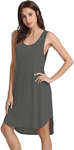 WiWi Womens Soft Bamboo Nightgowns Sleeveless S-4XL, Irony Grey, 2X-Large -