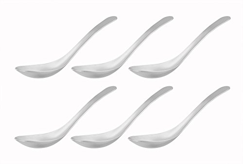 Brushed Stainless Steel Spoon - LIANYU Soup Spoons Set of 6, Asian Soup Spoons Stainless Steel, Chinese Japanese Soup Table Spoons, Dishwasher Safe