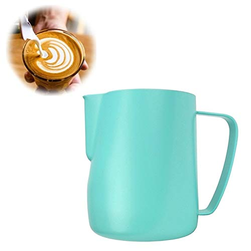 Milk Jug 0.3-0.6L Stainless Steel Frothing Pitcher Pull Flower Cup Coffee Milk Frother Latte Art Milk Foam Tool Coffeware, Capacity:350ml Premium Material (Color : Green) by SHIFENX