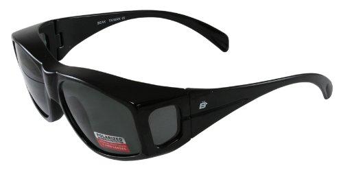 Birdz Eyewear Polarized Sunglasses (Black Frame/Smoke - Fit Sunglasses Over Walmart Glasses