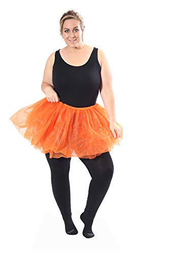 Classic Layered Princess Tutu for Halloween Costumes, Fun Runs, and Everyday Wear Over Leggings Orange -