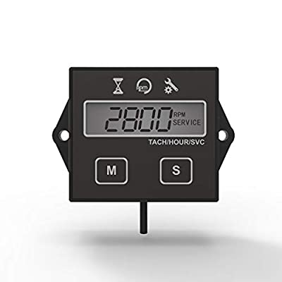 Runleader Digital Hour Meter Tachometer, Maintenance Reminder, User shutdown, Use for ZTR Lawn Mower Tractor Generator Marine Outboard ATV Motor Snowmobile and Gas Powered Equipment: Automotive