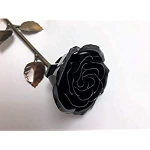 Personalized Gift Hand-Forged Wrought Iron Black Metal Rose 27