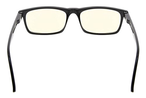 Eyekepper Readers UV Protection, Anti Glare Eyeglasses,Anti Blue Rays, Spring Hinges Computer Reading Glasses (Black, Yellow Tinted Lenses) +0.0