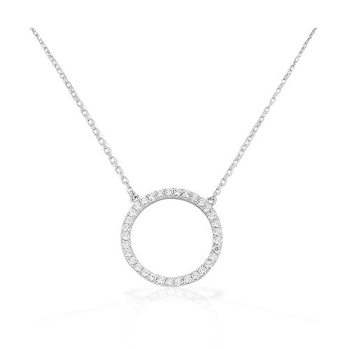 925 Sterling Silver Circle of Life White CZ Pendant (Silver Circle Necklace)