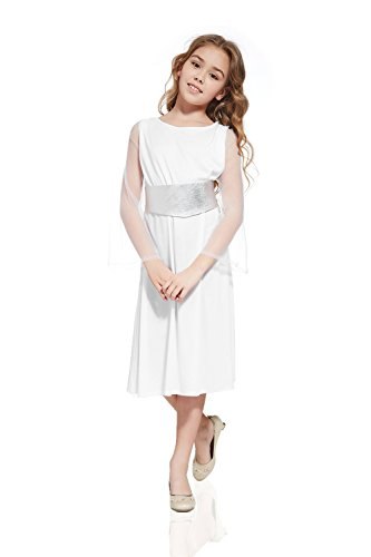 Guardian Angel Child Costumes (Kids Girls Angel Goddess Deity Cherub Celestial Costume Divine Halloween Dress Up (3-6 years, White))