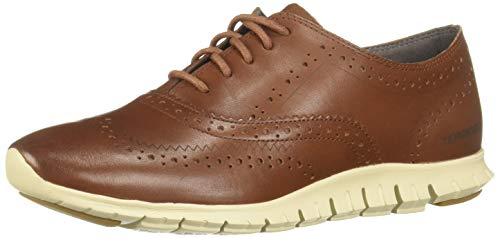 Brown Leather Wingtip - Cole Haan Women's Zerogrand Wing Oxford Closed Hole II, Woodbury Leather/Ivory 7.5 B US